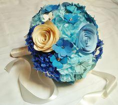 Wedding Bouquet paper flower bouquet blues/creams/aqua, bridal bouquet, wedding decoration, gift, bridal shower, baby shower. $55.00, via Etsy.
