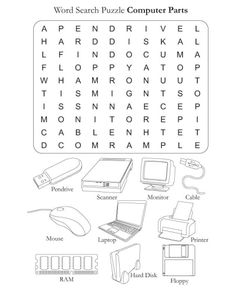 Word Search Puzzle Computer Parts | Download Free Word Search Puzzle Computer Parts for kids | Best Coloring Pages