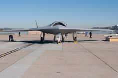 Northrop Grumman X-47B UCAS (Unmanned Combat Air System). The actual X-47B just started flight tests at Edwards AFB recently. The X-47B program is intended as a demonstration program only, not for production.