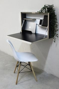 8 Of The Best Space-Saving Desks On Etsy - Wall mounted folding desk, ideal for creating a home office in a tiny space - Small Room Desk, Desks For Small Spaces, Tiny Spaces, Small Office Desk, Office Setup, Office Organization, Office Ideas, Office Decor, Tiny Home Office