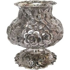 Antique Chinese Export Sterling Silver Footed Vase