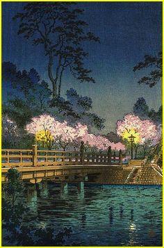 Tsuchiya Koitsu, Benkei Bridge at night, c. 1933