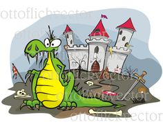 DRAGON VECTOR CLIPART eps, ai, cdr, png, jpg, fairy tale image, battlefield and abandoned castle, fantasy clipart, funny cartoon dragon by ottoflickvector on Etsy