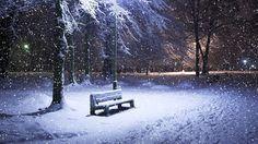 Imagem de neve caindo sobre um banco iluminado com árvores ao redor - do blog Sun Tzu e A Arte da Guerra (http://www.suntzulives.com/).