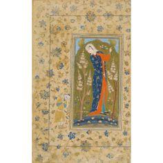 Jeune femme élancée, Iran, probablement Qazwin, art safavide, vers 1560. - encre, gouache et or sur papier, monté sur une page d'album, petit personnage enturbanné dans la marge et rinceaux floraux Dim. de la miniature : 14,3 x 7,3 cm ; dim. de la page : 25,8 x 15,5 cm