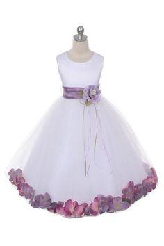 Girls White Satin Petal Flower Girl Dress by Kids Dream, Sizes 8-14 - Choose Your Colors - Style 160-SASH - Alyssa's Garden Boutique for Little Girls - 10