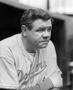 Babe Ruth, during his final season, as a coach for the Dodgers. by Charles Conlon.