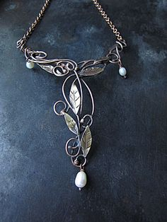 Copper Brass Pearl Short Forest Branch and Leaves Necklace