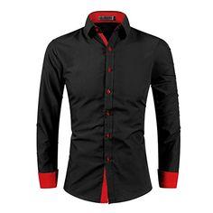 Kuson Homme Chemise Casual Couleur Unie à Manches Longues Col Chemise Cassique: Amazon.fr: Vêtements et accessoires