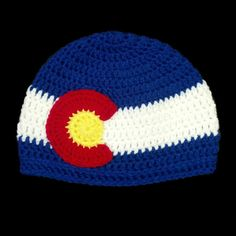 Colorado Flag Crochet Winter Beanie Hat for sale in a variety of sizes at… Cute Crochet, Crochet Crafts, Crochet Projects, Knit Crochet, Crotchet, Crochet Beanie Pattern, Crochet Patterns, Crochet Ideas, Crochet Scarves