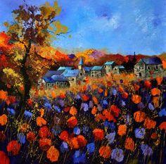 "Saatchi Art Artist Pol Ledent; Painting, ""A village in Autumn 774111 SOLD"" #art"