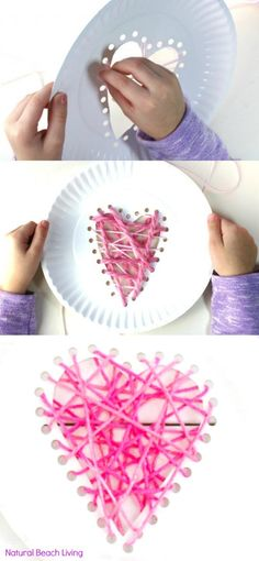 Yarn Paper Plate Heart Craft - Beginner Sewing for Preschool and Kindergarten Valentine's Day Activities: Yarn Paper Plate Heart Craft and Beginner Sewing for Preschool and Kindergarten. Great fine motor skill with super results kidos will be proud of. Preschool Valentine Crafts, Valentine's Day Crafts For Kids, Valentines Day Activities, Sewing Projects For Kids, Valentines For Kids, Sewing For Kids, Crafts To Make, Sewing Crafts, Valentine Ideas