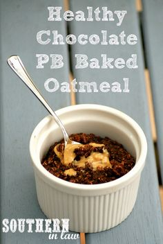 Healthy Reeses Peanut Butter Cup Baked Oatmeal Recipe - Gluten Free, Vegan