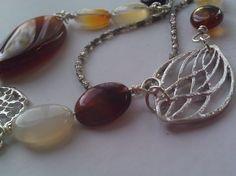 Earthtone stone and glass bead leaf necklace. $34.00, via Etsy.