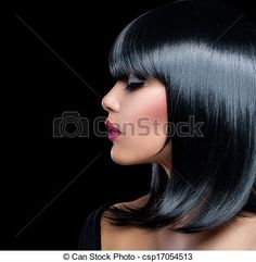 Stock Photo - Beautiful Brunette Girl. Beauty Woman with Short Black Hair - stock image, images, royalty free photo, stock photos, stock photograph, stock photographs, picture, pictures, graphic, graphics