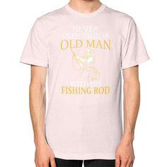 Man old love fishing Unisex T-Shirt (on man)