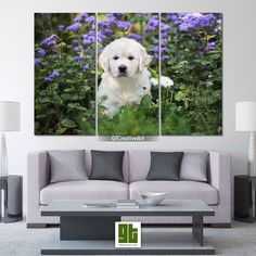 Puppy in Flowers, Multi Panel Framed Canvas Set, White Cute Dog Home Wall Art, Golden Retriever Print Art Decor, Pet Animal Decoration Gift by GTCreativeArt on Etsy Bird Wall Art, Home Wall Art, Art Decor, Decoration, Animal Decor, Framed Canvas, Pet Birds, Cute Dogs, Puppies