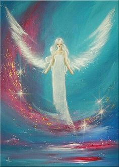 """I feel you"" by German Artist Henriette Küentzle (HenriettesART) - modern contemporay angel artwork/painting Angel Images, Angel Pictures, Angel Artwork, Artwork Wall, Angel Drawing, I Believe In Angels, Ange Demon, Angels Among Us, Painting Inspiration"