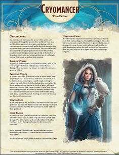 First take on my Cryomancer Wizard School for Dungeons And Dragons Classes, Dungeons And Dragons Homebrew, Dungeons And Dragons Characters, Dnd Characters, Dark Fantasy Art, Fantasy Rpg, Dnd Wizard, D D Races, Dnd Classes