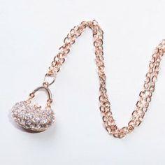 $3.88 Sweet Rhinestoned Women's Handbag Shape Alloy Necklace