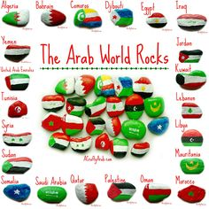 A Crafty Arab:  Arab World Rocks Tutorial Yesterday was a snow day in our town so the girls were home from school. We have been talking a lot about the Arab world lately so I decided to take advantage of the day and teach my girls about all the flags.   Since the car wasn't getting out of the garage, we couldn't …