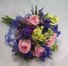 pink blue yellow bouquets | blue-mixed-flower-prom-bouquet blue-pink-yellow-prom-flowers blue-and ...