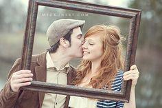 vintage picture frame engagement session