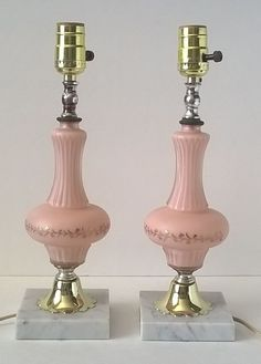 Vintage Pair PINK Boudoir Table Lamps Cased Satin Glass W/Marble Base From  ITALY
