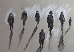 Rob Adams- UK- 2010- Charcoal and White pencil- Adams has illustrated strong silhouettes of walking figures capturing their stance and sense of movement. The use of graphic white pencil adds depth to the illustration as the figures are illuminated. The dark figures projects a negative emotion which is heightened by the long and exaggerated shadows. This illustration is Adams interpretation of the figures that is not essentially accurate.