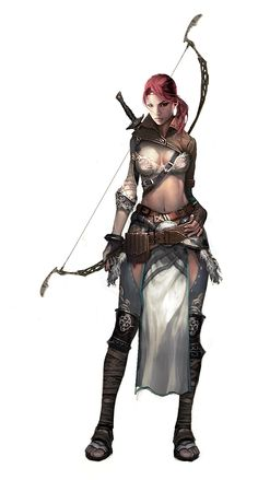 Female Elven Archer by Vynthallas elf ranger wood wild armor clothes clothing fashion player character npc | Create your own roleplaying game material w/ RPG Bard: www.rpgbard.com | Writing inspiration for Dungeons and Dragons DND D&D Pathfinder PFRPG Warhammer 40k Star Wars Shadowrun Call of Cthulhu Lord of the Rings LoTR + d20 fantasy science fiction scifi horror design | Not Trusty Sword art: click artwork for source