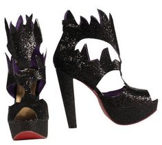 witch or devil black glitter costume halloween shoes for women