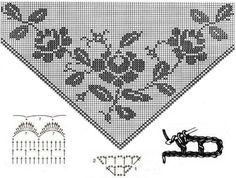 Filet crochet rose chart