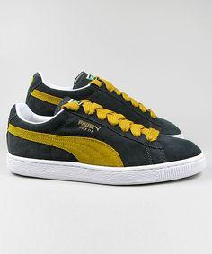 Puma Suede Classic dark grey/yellow #puma #sneakers #shoes #streetwear #men www.neverending-shop.de