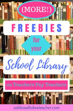 ) Freebies for Your School Library on Teachers Pay Teachers! - So Blessed to Be a Teacher School Library Decor, School Library Lessons, School Library Displays, Library Lesson Plans, Middle School Libraries, Elementary School Library, Library Skills, Library Decorations, Library Card