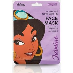 Disney Princesses Jasmine A Whole New World Face Mask (75.395 IDR) ❤ liked on Polyvore featuring beauty products, skincare, face care, face masks and purple