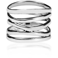 Wide Five Band Coil Wrap Sterling Silver Ring (Thailand) ($32) ❤ liked on Polyvore
