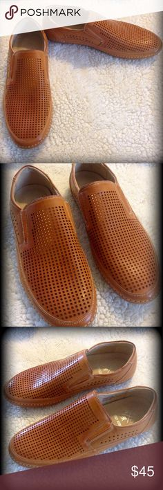 Great looking men's loafers Vented breathable loafers. Small section of elastic on each side for easy on. Rubbery type soles. Great looking shoe. Color on box says natural. Stacy Adams Shoes Loafers & Slip-Ons