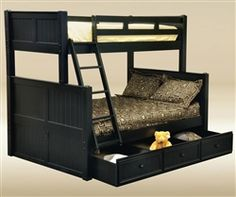 Black Twin over Full Bunk Bed for Kids TF83001 | Cottage Style Bunk Bed in Black by Good Trading Furniture | Beadboard Style Twin Full Bunkbed with Free Shipping at ekidsrooms.com