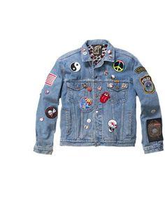90's badge denim jacket