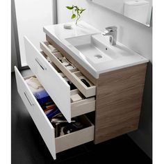 16 Awesome Vanity Ideas For Small Bathrooms - Modern small bathroom vanity with storage drawers - Modern Small Bathrooms, Small Bathroom Vanities, Laundry In Bathroom, Bathroom Storage, Modern Bathroom, Bathroom Ideas, Roca Bathroom, Master Bathroom, Modern Faucets