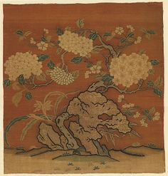 Flowers and Garden Rock Period: Yuan (1271–1368) or Ming (1368–1644) dynasty Date: 14th century Culture: China Medium: Silk and metallic-thread tapestry (kesi) Accession Number: 13.100.24
