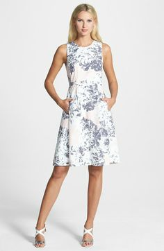 Pink Tartan Floral Print Fit & Flare Dress available at #Nordstrom
