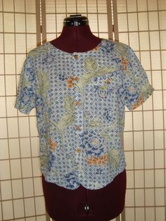 Liz Wear Sz M Blue Floral 100% Cotton Button Front Top #Lizwear #ButtonDownShirt