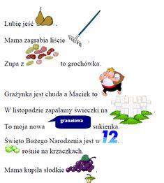 Zdania z obrazkami - połączenie [gr] - Domologo. Polish Language, Map, Education, School, Speech Language Therapy, Location Map, Schools, Maps, Educational Illustrations