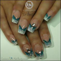Luminous Nails: Glitter Sky Blue & White Nails with Reverse V...