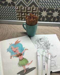 Hola girl #hulagirl #girl #character #Hawaii #graphic #draw #art #sketch #sketchbook #sketchart #artwork #illustration #bluehair #coconut #2016 #хуладевушка #девушка #персонаж #гаваи #графика #рисунок #арт #скетч #скетчбук #скетчарт #артработа #иллюстрация #голубыеволосы #кокос