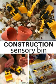 This Simple Construction Sensory Bin provides fun and learning! Let the imagination explore with this sensory bin!