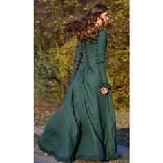 Emerald lace-up long sleve renaissance dress