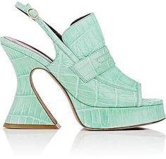 Sies Marjan Women's Ellie Crocodile-Stamped Leather Slingback Platform Sandals