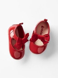 GAP Baby Girl Size 6-12 Months NWT Patent Leather Red Mary Jane Bow Flats Shoes